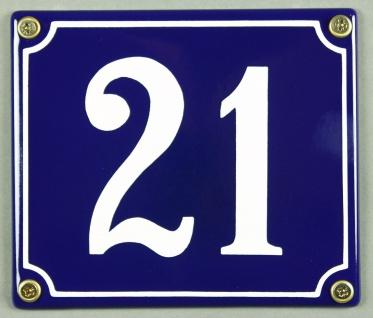 Hausnummernschild Emaille 21 blau - weiß 12x14 cm sofort lieferbar Schild Ema...