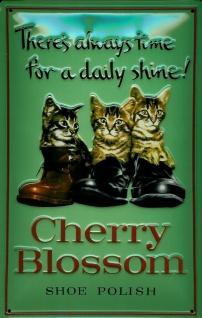 Blechschild Cherry Blossom Shoe polisher Schuhcreme Schuhpflege Schild retro ...