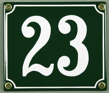 Hausnummernschild 23 grün 12x14 cm sofort lieferbar Schild Emaille Hausnummer...