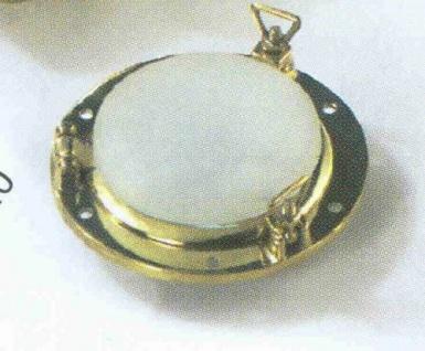 Bullaugenlampe mit 2 Korbmuttern, Messing Durchmesser 11 cm 12 Volt Halogen (...