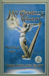 Blechschild Mc Connell Whisky Belfast Engel mit Harfe Schild retro Werbung