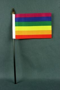Kleine Tischflagge Regenbogen 10x15 cm optional mit Tischfähnchenständer