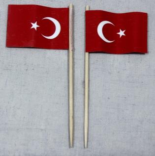Party-Picker Flagge Türkei Papierfähnchen in Spitzenqualität 50 Stück Beutel
