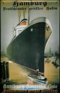 Blechschild Hamburg Deutschlands größter Hafen Dampfer Schiff Schild Nostalgi...