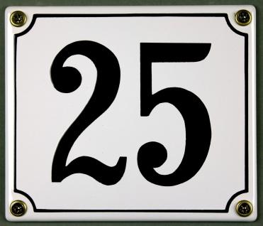 Hausnummernschild 25 weiß 12x14 cm sofort lieferbar Schild Emaille Hausnummer...