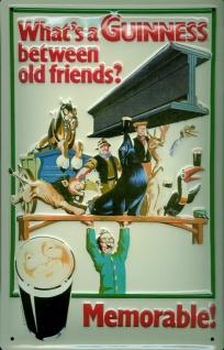 Blechschild Guinness Bier Stahlträger Memorable Old Friends Schild Werbeschild