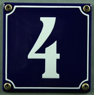 Hausnummernschild 4 blau - weiß 12x12 cm sofort lieferbar Schild Emaille Haus...