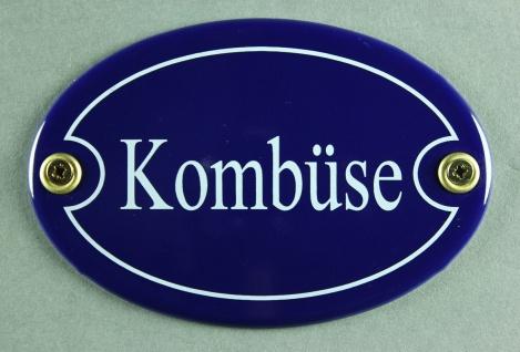 Emaille Türschild Kombüse blau oval Schild Emailleschild Metallschild Blechsc...