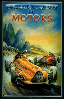 Blechschild Golden Book of Motors Rennwagen retro Schild Nostalgieschild Auto...