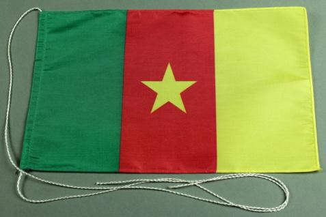 Tischflagge Kamerun 25x15 cm optional mit Holz- oder Chromständer Tischfahne ...