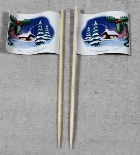 Party-Picker Flagge Weihnachten 1 Schnee Papierfähnchen in Spitzenqualität 50...