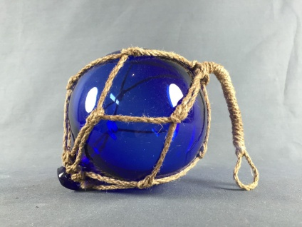 Fischerkugel blau ca. 5 cm im Tauwerk Netz Glaskugel Glas maritim Kugel