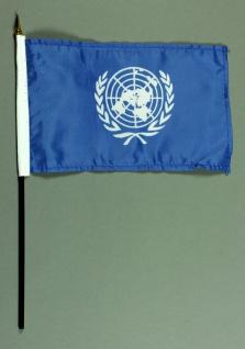 Tischflagge Uno Vereinte Nationen 15x25 cm BASIC optional mit Tischflaggenstä...