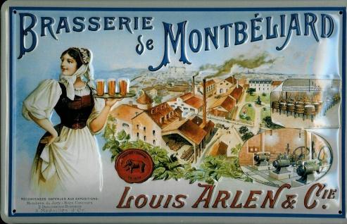 Blechschild Brasserie de Montbéliard Bier Frankreich retro Schild Werbeschild