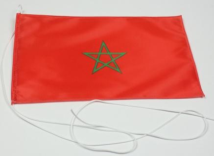 Tischflagge Marokko 25x15 cm optional mit Holz- oder Chromständer Tischfahne ...