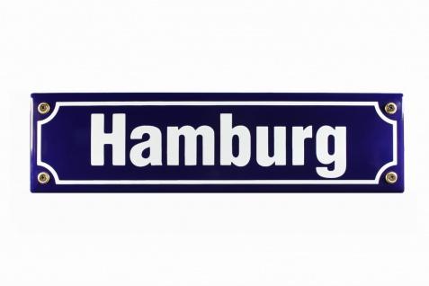 Strassenschild Hamburg 30x8 cm Emaille Türschild Souvenir Schild Emaile