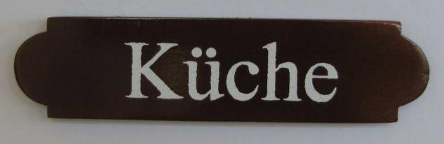 Eckiges Holz - Türschild Küche 3x12 cm dunkles Holzschild