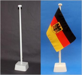 Tischflaggenständer 1-fach Holz weiß Profiqualität für 15x25cm Tischflaggen