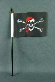 Kleine Tischflagge Pirat Piratenflagge 10x15 cm optional mit Tischfähnchenstä...