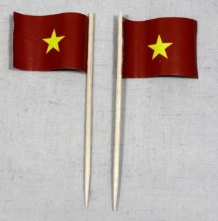 Party-Picker Flagge Vietnam Papierfähnchen in Spitzenqualität 50 Stück Beutel