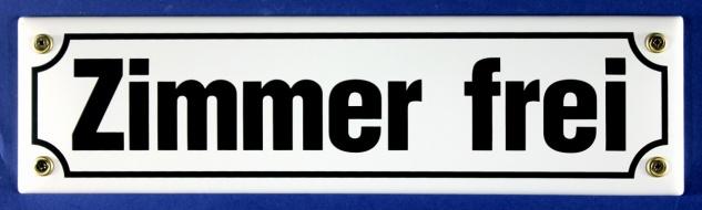Strassenschild Zimmer frei 30x8 cm weiß Emaille Schild Emaile Hinweisschild T...