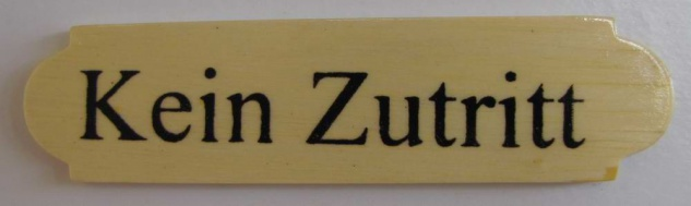 Eckiges Holz - Türschild Kein Zutritt 3x12 cm helles Holzschild