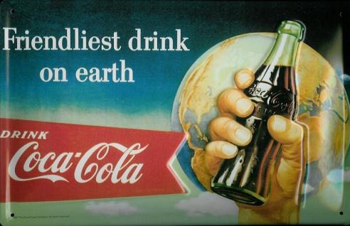 Blechschild Coca Cola friendliest drink on earth retro Schild Coke Werbeschild
