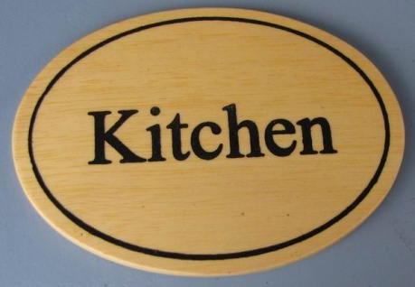 Ovales Holz - Türschild Kitchen 7x10 cm helles Holzschild