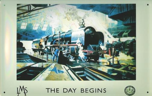 Blechschild Nostalgieschild Eisenbahn England Lokomotive The Day Begins