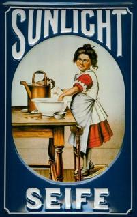 Blechschild Sunlicht Seife blau Schild retro Werbeschild Nostalgieschild