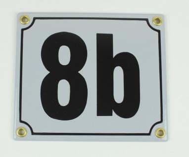 8b hellgrau / schwarz Blockschrift 14x12 cm sofort lieferbar Schild Emaille H...