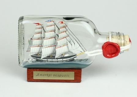 Amerigo Vespucci Buddelschiff Flachmann 0, 1 Liter ca. 14x7 cm Buddel Schiff F...