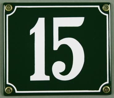 Hausnummernschild 15 grün 12x14 cm sofort lieferbar Schild Emaille Hausnummer...