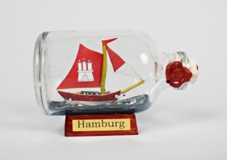 Hamburg Mini Buddelschiff 50 ml ca. 7, 2 x 4, 5 cm Flaschenschiff