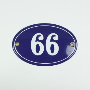 66 oder 99 blau oval 15x10 cm sofort lieferbar Schild Emaille Hausnummer