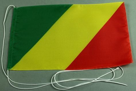 Tischflagge Kongo Brazzaville 25x15 cm optional mit Holz- oder Chromständer T...