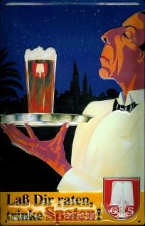 Blechschild Spaten Bier München Kellner Tablett retro Schild nostalgisches We...