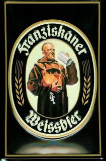 Blechschild Franziskaner Weissbier Mönch München Bayern Bier Schild Biergarten