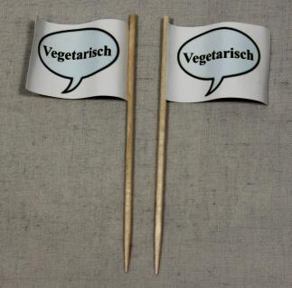 Party-Picker Flagge Vegetarisch Papierfähnchen in Spitzenqualität 50 Stück Be...