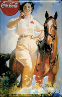 Blechschild Coca Cola Pferd mit Lady Nostalgieschild retro Werbung Schild