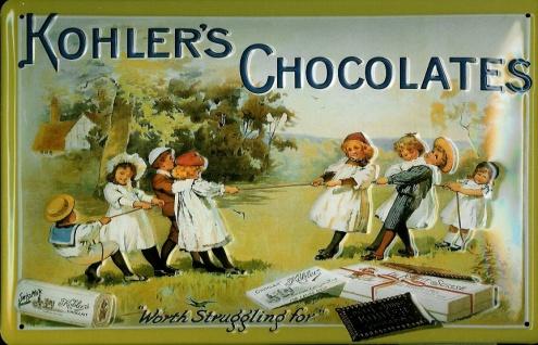 Blechschild Kohler`s Chocolates Kinder Schokolade Schild Werbeschild