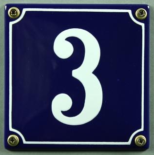 Hausnummernschild 3 blau - weiß 12x12 cm sofort lieferbar Schild Emaille Haus...
