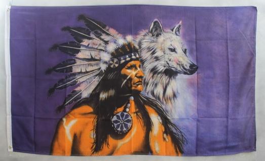 Flagge Fahne : Indianer mit Wolf