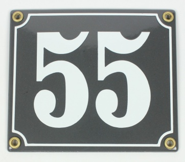 55 grau/weiß Clarendon 12x14 cm sofort lieferbar Schild Emaille Hausnummer