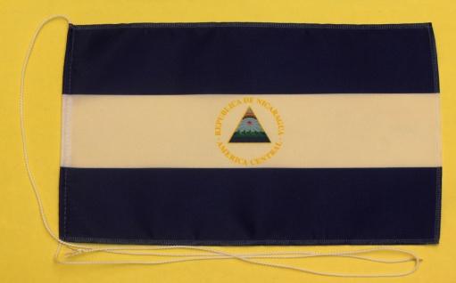 Tischflagge Nicaragua 25x15 cm optional mit Holz- oder Chromständer Tischfahn...