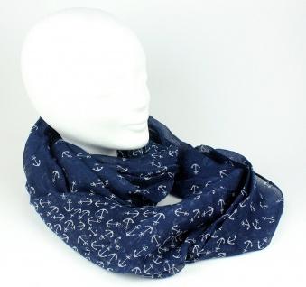 Loop Schal dunkelblau mit weißen Ankern Tuch Schlauchschal Rundschal Damenschal