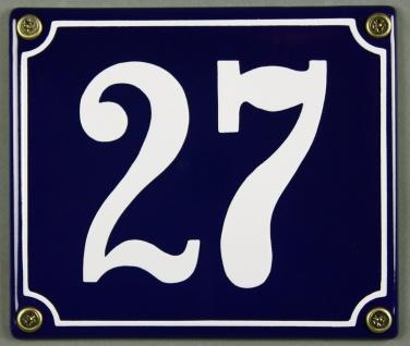 Hausnummernschild Emaille 27 blau - weiß 12x14 cm sofort lieferbar Schild Ema...