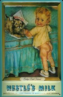 Blechschild Nestle Milk Kind Hund Milch Schild Werbeschild