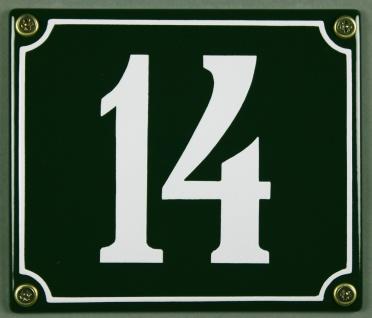 Hausnummernschild 14 grün 12x14 cm sofort lieferbar Schild Emaille Hausnummer...