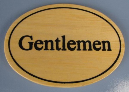 Ovales Holz - Türschild Gentlemen 7x10 cm helles Holzschild Toilette